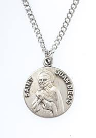 St. Juan Diego Pewter Medal Necklace with Holy Card