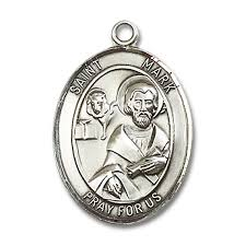 St. Mark Oval Pewter Medal Necklace with Holy Card
