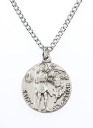 St. Sebastian Pewter Medal Necklace with Holy Card