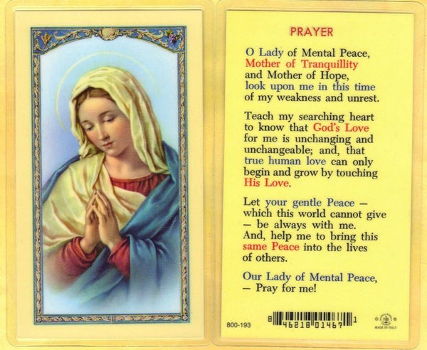Prayer for Mental Peace-Our Mother of Tranquility Laminate Holy Card