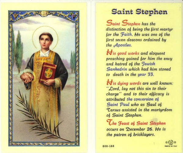 St. Stephen Holy Card Laminate