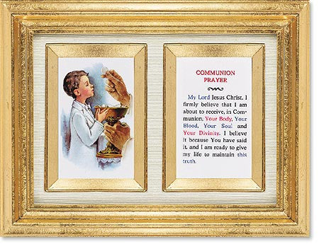 First Communion Boy Framed Print with Gold Leaf Finish