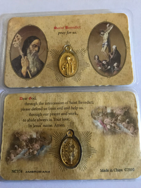 Saint Benedict/Crucifix Pocket Prayer Card