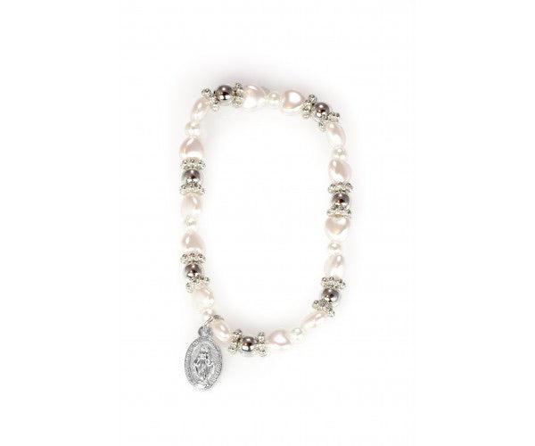 First Communion Bracelet with Pink Heart Beads