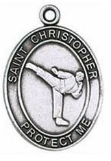 Karate/St. Christopher Medal from Jeweled Cross