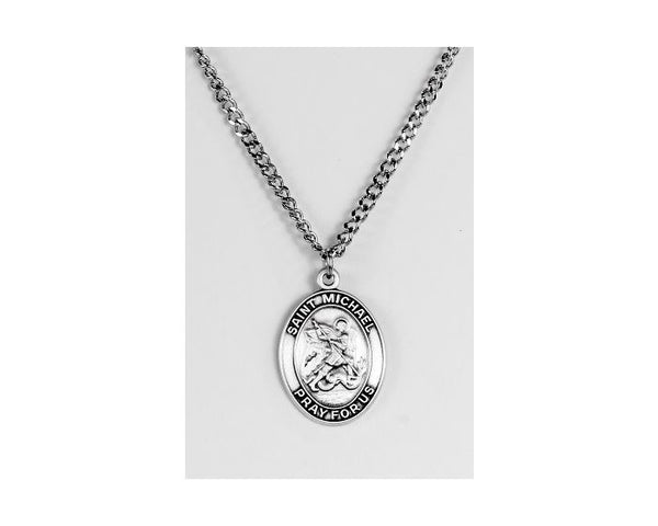 St. Micheal Oval Sterling Silver