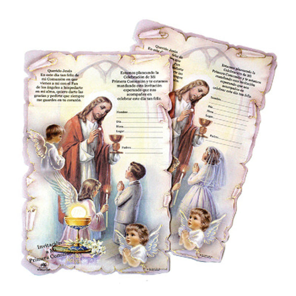 First Communion Invitations Girl with Envelopes Qty 12