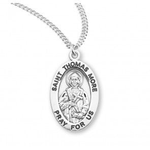 St. Thomas More Sterling Silver Oval Necklace