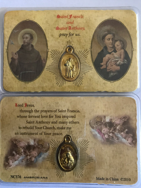 Saint Francis/Saint Anthony Pocket Peayer Card