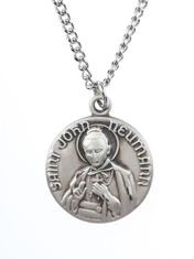 St. John Newman Pewter Medal Necklace with Holy Card