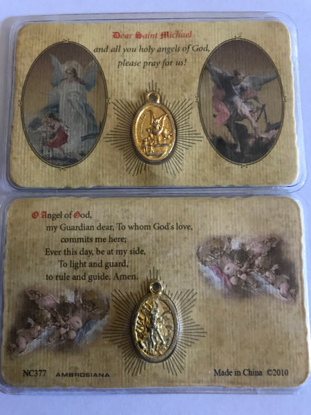 Guardian Angel/Saint Michael Pocket Prayer Card