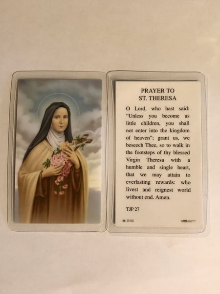 St. Theresa Holy Card Laminate DISCONTINUED