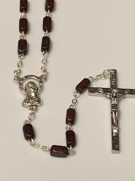 Wood Bead Rosary Dark Red Square Bead with Our Lady Center