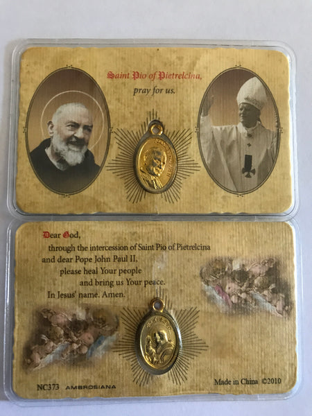 Saint Pio/Pope John Paul II Pocket Prayer Card