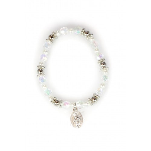 First Communion Bracelet with Round AB beads and Miraculous Medal