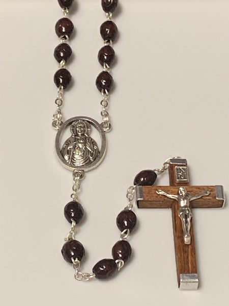 Wood Bead Rosary Dark Red Round Bead with Sacred Heart