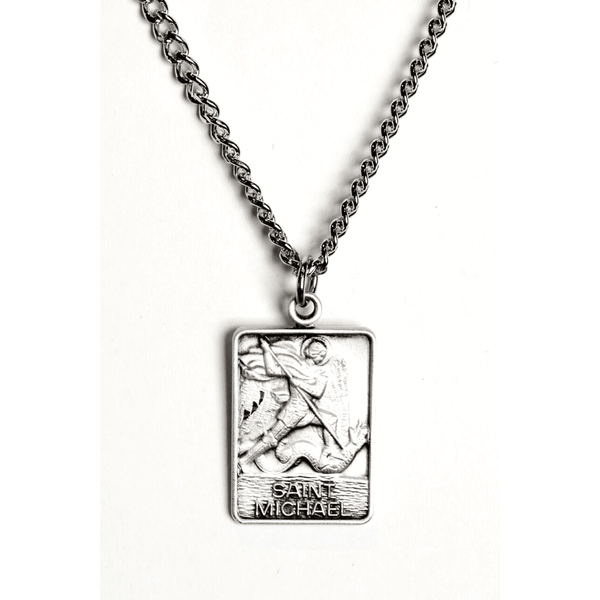 St. Micheal Square Sterling Silver Necklace