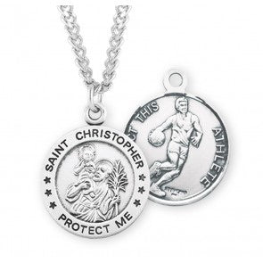 St. Christopher Round Sterling Silver Basketball Athlete Medal