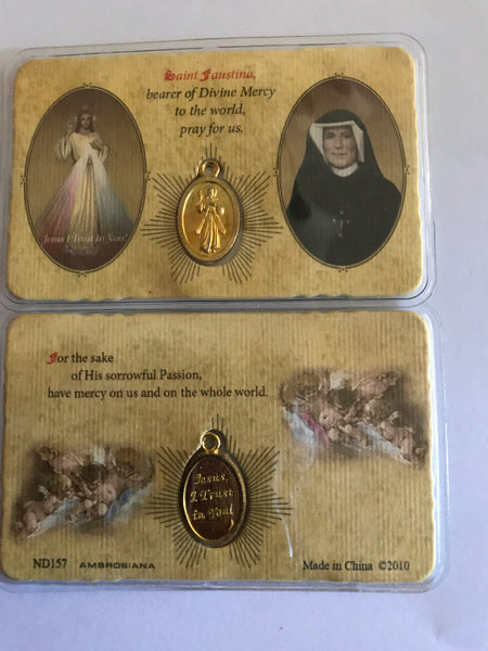 Divine Mercy/Saint Faustina Pocket Prayer Card