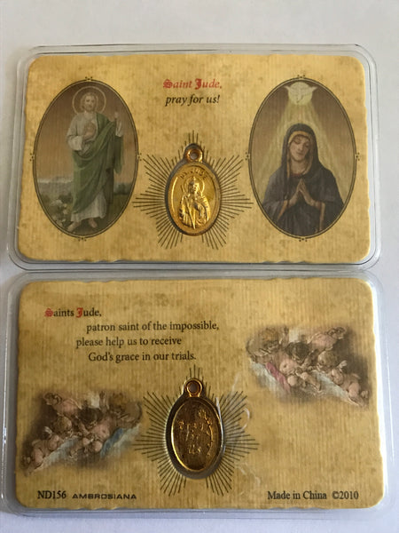 Saint Jude/Blessed Mother Pocket Prayer Card