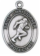Football/St. Christopher Medal from Jeweled Cross