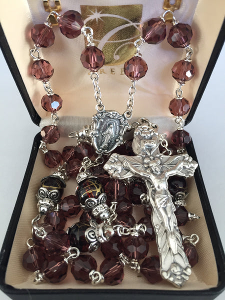 Amethyst Vienna Collection Rosary with Decorative Bead