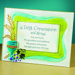 "First Communion Colored Glass Picture Frame Holds 4""x6"" photo"