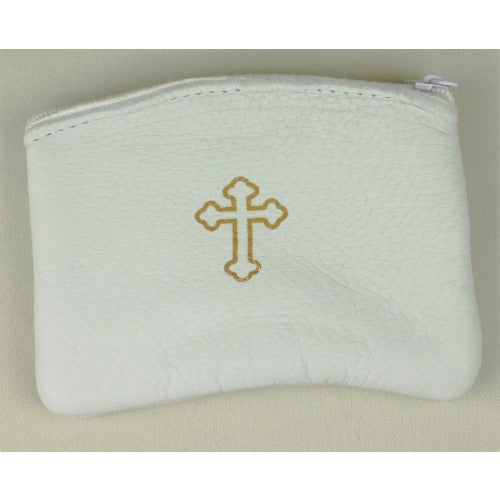 Rosary Case- White Zippered Leather Unlined