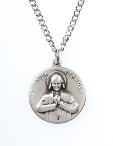 St. John Vianney Pewter Medal Necklace with Holy Card