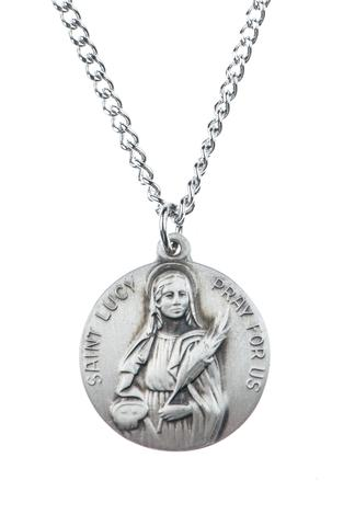 St. Lucy Pewter Medal Necklace with Holy Card