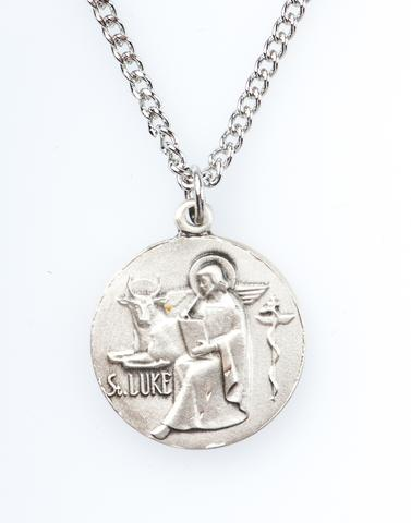 St. Luke Pewter Medal Necklace with Holy Card