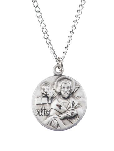 St. Mark Pewter Medal Necklace with Holy Card