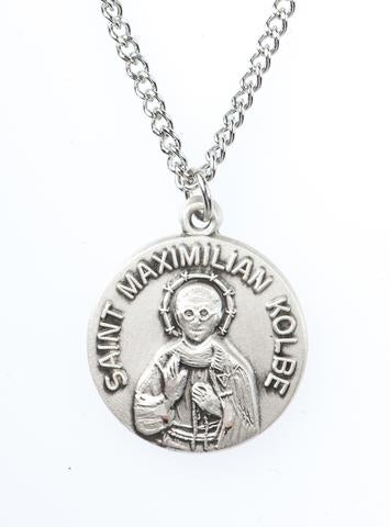 St. Maximilian Kolbe Pewter Medal Necklace with prayer card