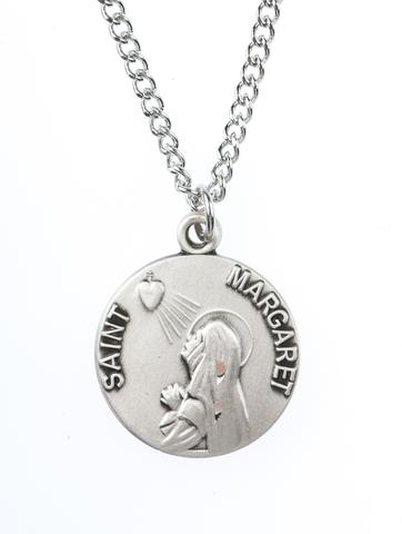 St. Margaret Pewter Medal Necklace Holy Card