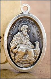 St. John the Apostle - 1 inch Pray for Us Medal Oxidized