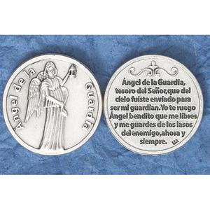Guardian Angel Spanish - 3/4 inch Double Sided Round Medal Oxidized