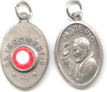 St Padre Pio - 1 inch Pray for Us Medal Oxidized with Third Class Relic