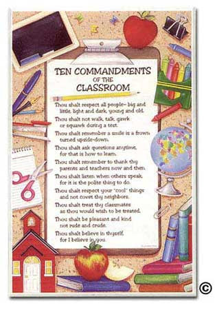 Ten Commandments of the Classroom Plaque from Abbey Press
