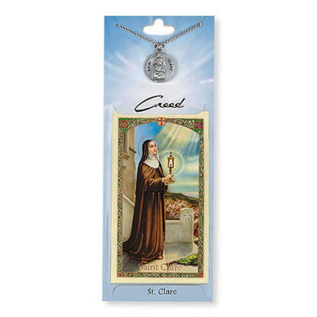 St. Clare Prayer Card with Pewter Medal