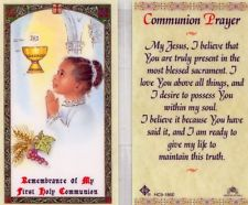 First Communion Prayer Card Girl Laminate