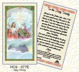 Prayer to the Holy Trinity Holy Card Laminate