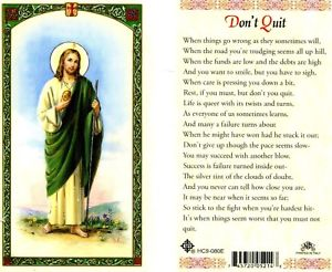 St. Jude Don't Quit Prayer Laminate Holy Card