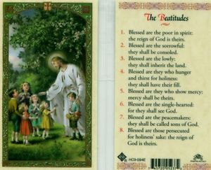 The Beatitudes Holy Card Laminate