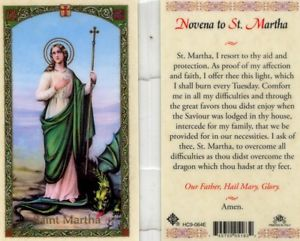 St. Martha Holy Card Laminate