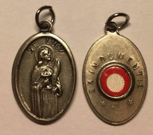 St. Lucy - 1 inch Medal Oxidized with Third Class Relic