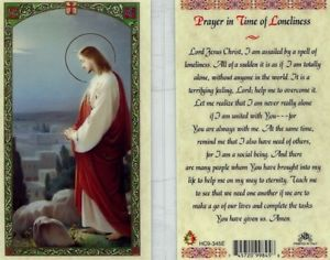 Prayer in TIme of Loneliness Holy Card Laminate
