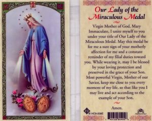 Our Lady of the Miraculous Medal Laminate Holy Card