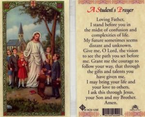 A Student's Prayer Holy Card Laminate