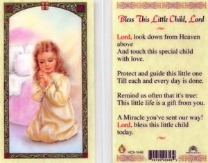 Bless This Little Child, Lord Holy Card Laminate Girl