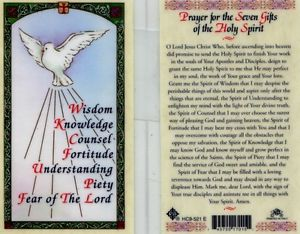 Prayer for the Seven Gifts of the Holy Spirit Holy Card Laminate